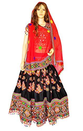 Nanda Women Rayon 2019 New Navratri Wear Chaniya Choli-Original Mirror Dandiya Lehenga Choli-Banjara Style Gujarati Choli Navratri Garba Costume Black Free Size