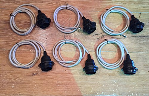 DIY Light Strands - 4' Cloth Covered Cord with Black Phenolic Sockets - Set of 6 (Sand/Putty ()