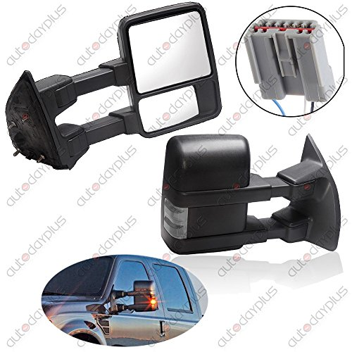 Scitoo Black Manual Towing Mirror Led Smoke Turn Signals For 2003-2007 Ford F250 F350 F450 F550 Super Duty Left Right Side View Mirrors Pair Set (Ford F250 Super Duty Mirrors compare prices)