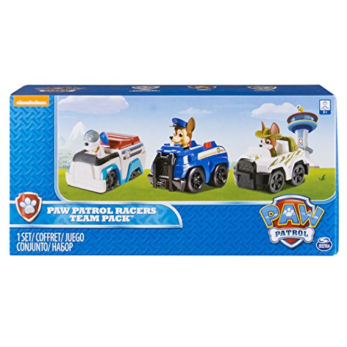 Paw Patrol Racers, paquete de 3 vehículos, Chase, Robodog y Tracker