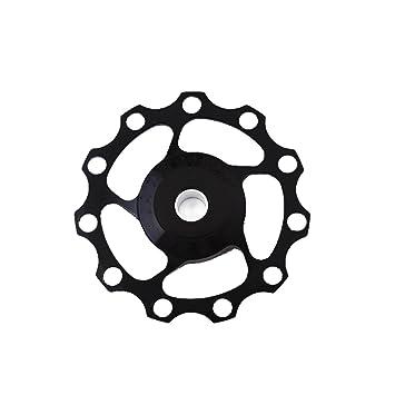 1ps 11T aluminio bicicleta desviador trasero guía de rueda para bicicleta de carretera, negro: Amazon.es: Deportes y aire libre