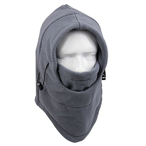 AYAMAYA Fleece Balaclava Hood Neck Tube Wind Stopper Skiing Cycling Motorcycle Full Face Mask - Gray