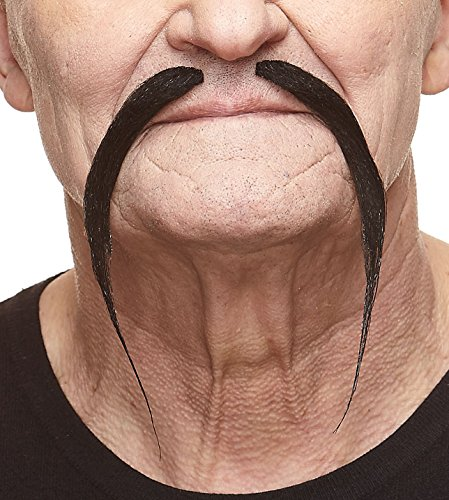 Mustaches Self Adhesive Fake Mustache, Novelty, Chinese False Facial Hair, Costume Accessory for Adults, Black Color -
