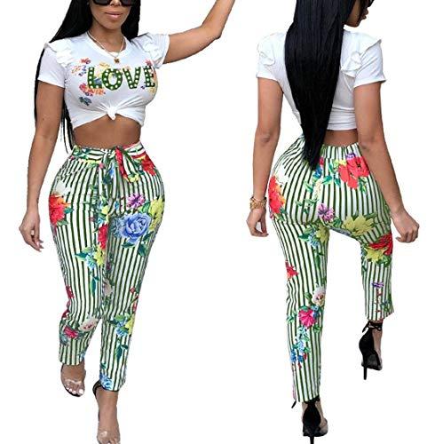 De Volantes Vintage Cintura Pantalones Beachwear Grün Conjuntos Crop Largos Corta Redondo Moda A Con Mujeres Gemelos Manga Impresión Alta Camiseta Vendaje Del Rayas Cuello Verano Tops vqpCIH