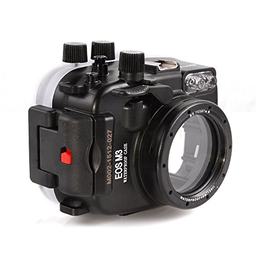 (MEIKON 130ft 40m Underwater Waterproof Camera Housings Case for Canon EOS M3 22mm Camera Lens)