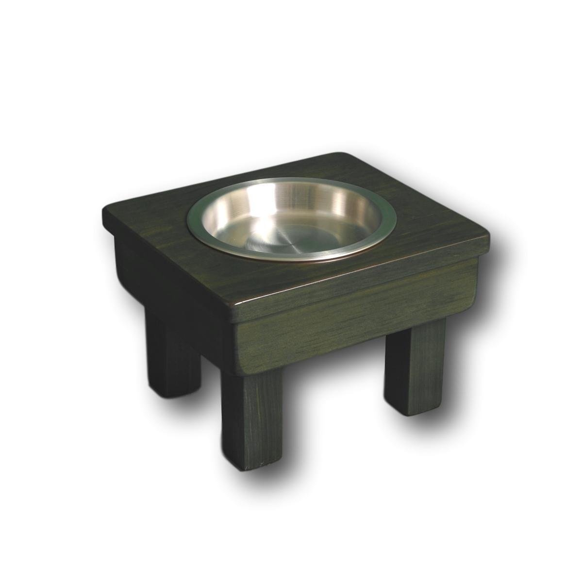Raised Dog Bowl 7'' tall Small. Shallow Single Bowl Elevated Pet Feeder Stand. Dog or Cat Bowl, with 13 oz. bowl- Prevents whisker fatigue. Non-Toxic and Eco-Friendly, by Ozarks Fehr Trade Originals