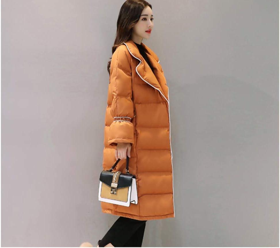 AOGUHN Piumino - Donne Tipo Dritto Medio Lungo Cotone Nuovo Inverno Coreano Doppio Petto Temperamento Cotone Cappotto Marea Femminile Zucchero allo zenzero