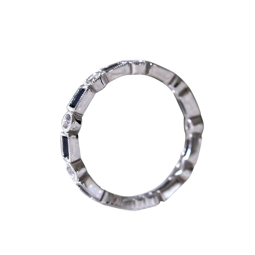 angel3292 Clerance Deals!!Women Fashion Round Rhinestone Rectangle Faux Topaz Ring Bridal Jewelry Gift Blue US 6