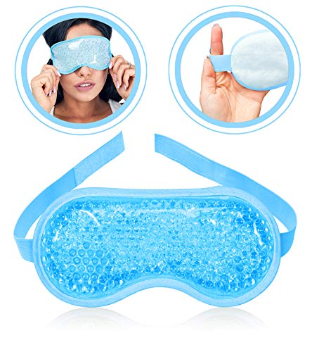 Gel Eye Mask Hot or Cold Pack - Ice Eye Mask Puffy Eyes and Dark Circles - Cooling Eye Mask Headaches Migraine and Sinus Pain - Eye Therapy Heat Mask Gel Beads - Stress Pain Relief Eye Mask Puffiness (Bead And Gel Sleep Mask)
