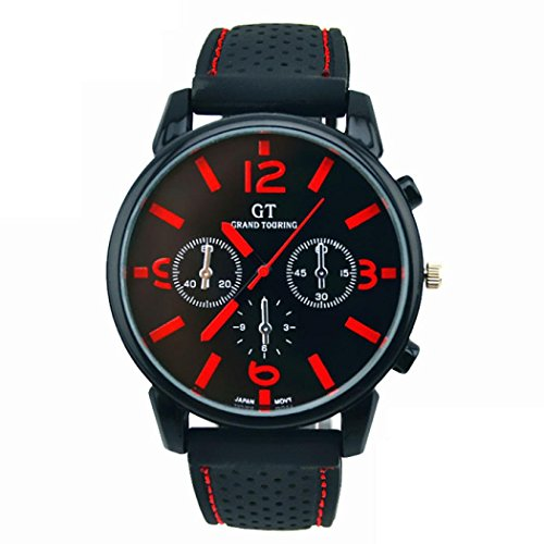 Stainless Steel Sport Watch Cool Quartz Watch Wrist Analog Watch Men's Racing Quartz Watch (Red) ()