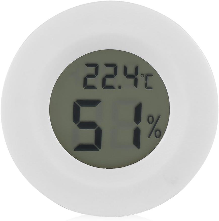 Monitor de temperatura y humedad para reptiles, LCD, redondo, plástico blanco, termómetro digital, higrómetro para mascotas pequeñas, lagarto, araña, tortuga, terrario, tanque