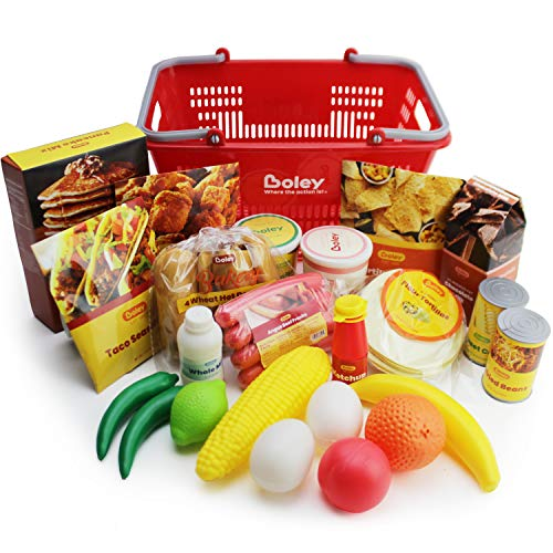 Boley Mart Groceries Play Food Set – 24 Piece Pretend Plastic Play Food Toy Playset with Realistic Grocery Toys and…