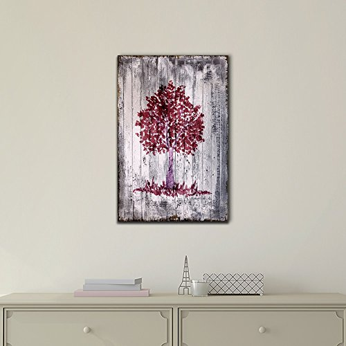 Tree Branch on Wood Background Vintage Style
