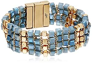 Kenneth Cole New York Blue Mood Woven Faceted Bead Magnetic Bracelet, 7.5""
