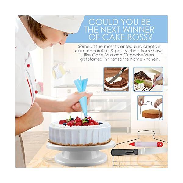 144 Set Cake Decorating Kit Supplies Pieces Kit Baking Tools Turntable Stand Pen