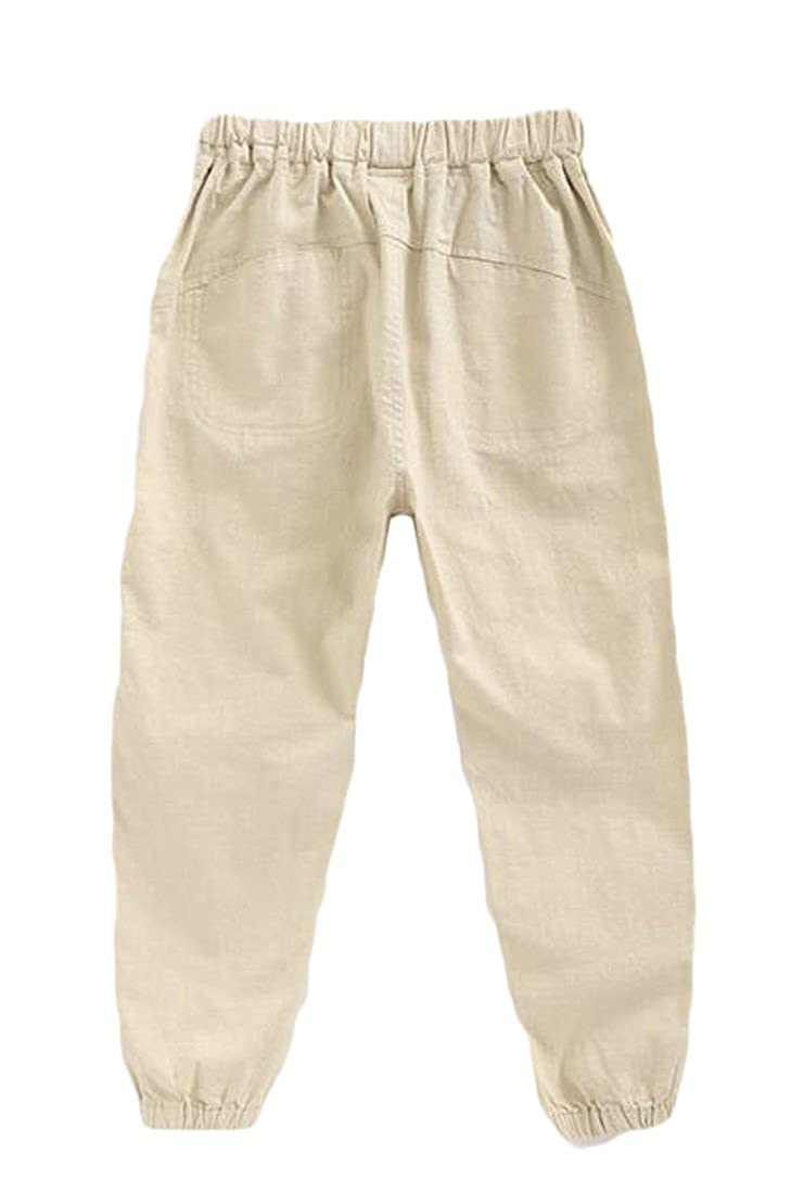 Cromoncent Boys Thin Baggy Cotton Linen Elastic Waist Ankle Length Jogger Pants