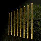 Aissimio 8pcs Solar Power Tube Lights Acrylic Bubble Stick Light LED Outdoor Lawn Garden Parks Path Lamp Set Pathway Decoration Warm White
