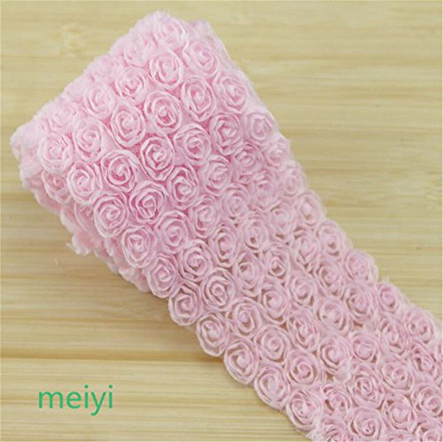 1 Meter 6 Rows Rose 3D Chiffon Flower Lace Edge Trim Ribbon 9 cm Width Vintage Style Edging Trimmings Fabric Embroidered Applique Sewing Craft Wedding Dress DIY Clothes Bowknot Decor (Baby Pink)