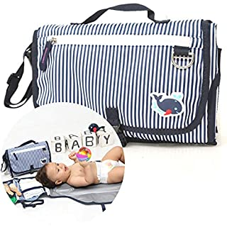 Baby Navy Portable Changing Pad - Lightweight Outdoor Diapering Station, Travel Home Change Mat Kit, Detachable Wipeable Waterproof Mat, Navy Blue & White Strips, Newborn Gift.