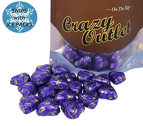 CrazyOutlet Pack - Hershey's Hearts Special Dark Chocolate Candy, Purple Foil Wedding Decor, 2 lbs