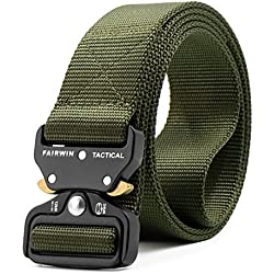 Fairwin Tactical Belt, Military Style Webbing Riggers Web Belt with Heavy-Duty Quick-Release Metal Buckle (Military-Green)