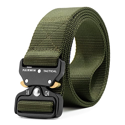 Fairwin Tactical Belt, Military Style Webbing Riggers Web Belt with Heavy-Duty Quick-Release Metal Buckle (Green, M 36