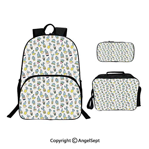 (Fashion Casual School Student Backpack,Cartoon Hand Drawn Foliage in Vases Latin American Inspirations Botanical Blue Yellow Pale Pink,Lightweight Daypack With Lunch Bag And Pencil Case For Girls)