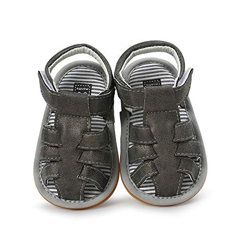 (Babelvit Infant Baby Boys Summer Sandals Soft Rubber Sole Non-Slip First Walkers Shoes(3-18 Months) (3-6 Months M US Infant, A-Black))