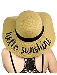 C&C Women's Paper Weaved Crushable Beach Embroidered Quote Floppy Brim Sun Hat