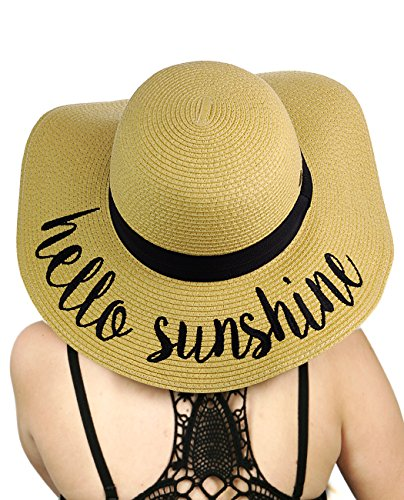 (C.C Women's Paper Weaved Crushable Beach Embroidered Quote Floppy Brim Sun Hat, Hello Sunshine)
