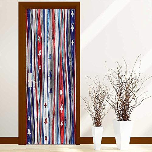 Stripe Wood Ash (L-QN Door Stickers Arts Decals Wall Stickers Decor American Flag Colored Wood Stripes with Ornate Star Figures Image Red Blue Easy-to-Clean, Durable W30 x H80 inch)