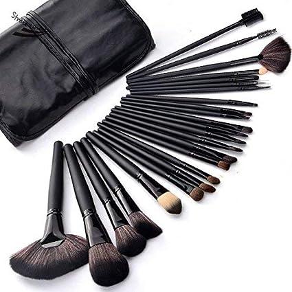 Set 32 brochas de maquillaje Profesional con estuche de cuero color negro.: Amazon.es: Belleza