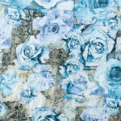Blue Multi Rose Print Ruffle Knit, Fabric by The -
