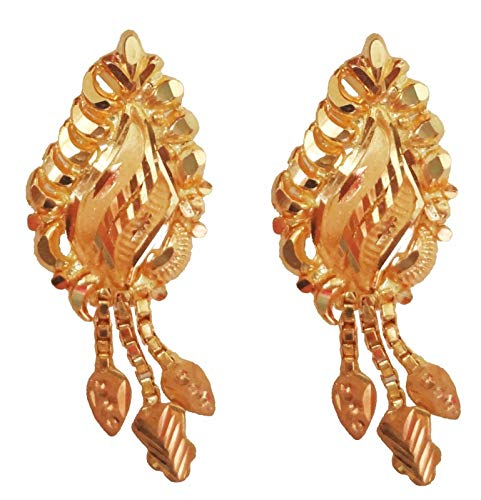 Satfale Jewellers Traditional Beautiful 22 Carat (22K) Solid Yellow Fine Gold 916 Stamped Hallmarked Dangle Earrings in Ethnic Design