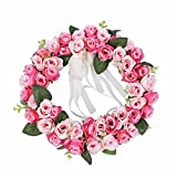 FAVOWREATH Love Series FAVO-W04 Handmade 11 inch Pink Roses Flowers Love Dry Branch Fall Wreath For Summer Home Front Door/Wall/Fireplace Wedding Floral Hanger Marry Anniversary Decor