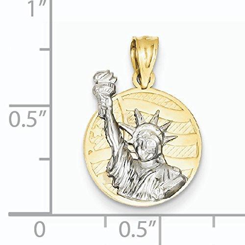 14 carats-Bicolore Sml. Lady Liberté sur drapeau américain disque pendentif-Dimensions :  21 x 14 JewelryWeb mm -