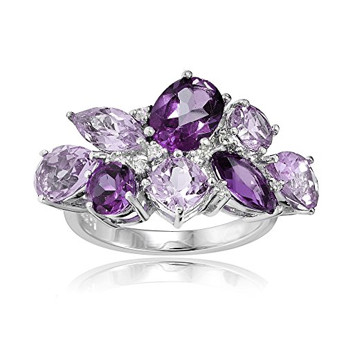 Sterling Silver Genuine African Amethyst, Amethyst, and White Topaz Cluster Tonal Ring