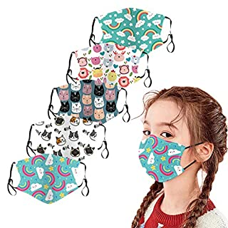 【Usa In Stock Fast Delivery 】5Pcs Childrens Facemasks Cute Cartoon Print Reusable Washable Breathable Adjustable Cotton Face Covering For Kids Boys Girl