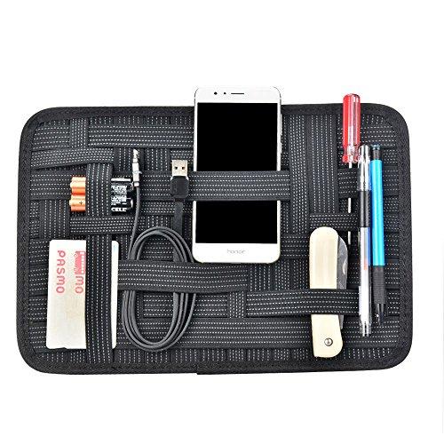 OTraki Elastic Electronics Organizer Board Grid Cable Organizer Board 12.4 x 8.6'' Travel Gear Organizer Gadget Bag Electronics Cables Charger USB Phone by OTraki