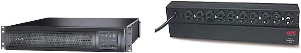 APC Network UPS, 3000VA Smart-UPS Sine Wave UPS with Extended Run Option, 120V & Rack Mount PDU, Basic 100V-120V/15A, (10) Outlets, 1U Horizontal Rackmount (AP9562)