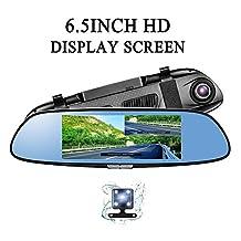 6.5 Inch Car Camera Dual Lens Rear View Mirror Dash Cam Dual Cameras Full HD Full HD1080P G-Sensor Loop Recording Motion Detection parking for Driving Recording