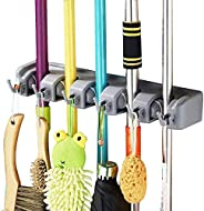 Mop and Broom Holder, Multipurpose Wall Mounted Organizer Storage Hooks, Ideal Tools Hanger for Kitchen Garden