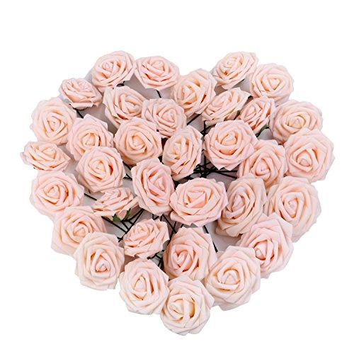 50pcs Foam Rose Flower Head Artificial Flowers Bouquet (Yellow) - 3