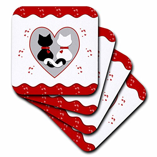 3dRose Cute Red Hearts Valentine Cat Couple - Ceramic Tile Coasters, Set of 4 (Cat Tile Coaster)