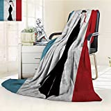 Microfiber Fleece Comfy All Season Super Soft Cozy Blanket the girl in a black evening dress smokes a cigarette for Bed Couch and Gift Blankets(90''x 70'')