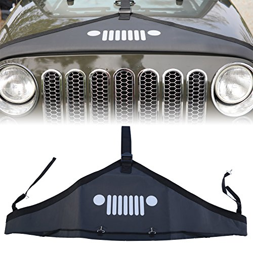 cartaoo Front Hood Cover Bra Cover T-Style Protector Kit For Jeep Wrangler JK 2007-2017 Black