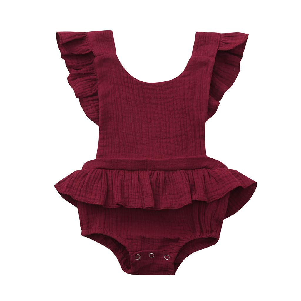 NUWFOR Newborn Infant Baby Girls Color Solid Ruffles Backcross Romper Bodysuit Outfits(Wine,0-6 Months)