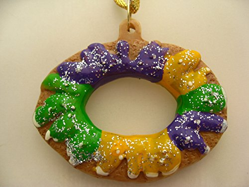 King Cake Mardi Gras Holiday Ornament with Free Gold Sheer Drawstring Pouch / Bag