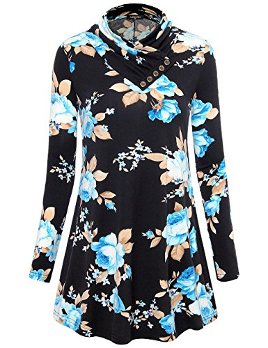 Laksmi Floral Tops, Women's Cowl Neck Button Decor Long Sleeve Cute Sweatshirt Flowy Pullover Tunic,Multicolor Black (Multi Color Pullover)