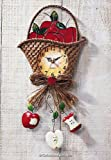 Collections Etc - Country Apple Basket Kitchen Wall Clock
